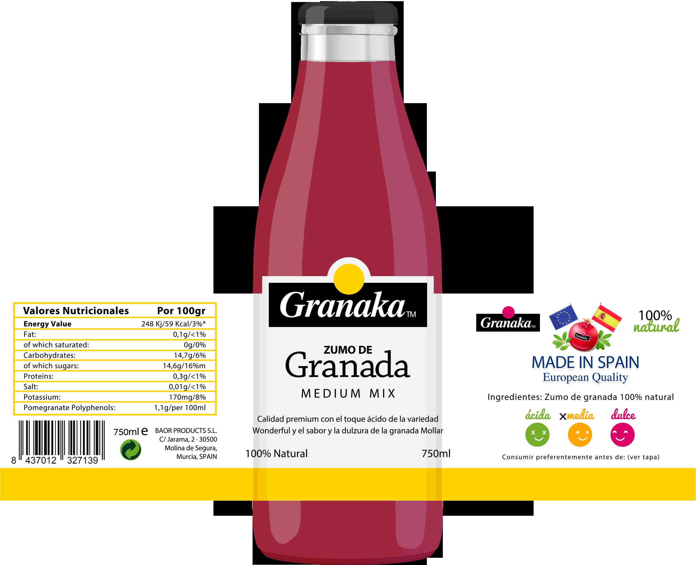 granaka amarillo - zumo de granada nfc