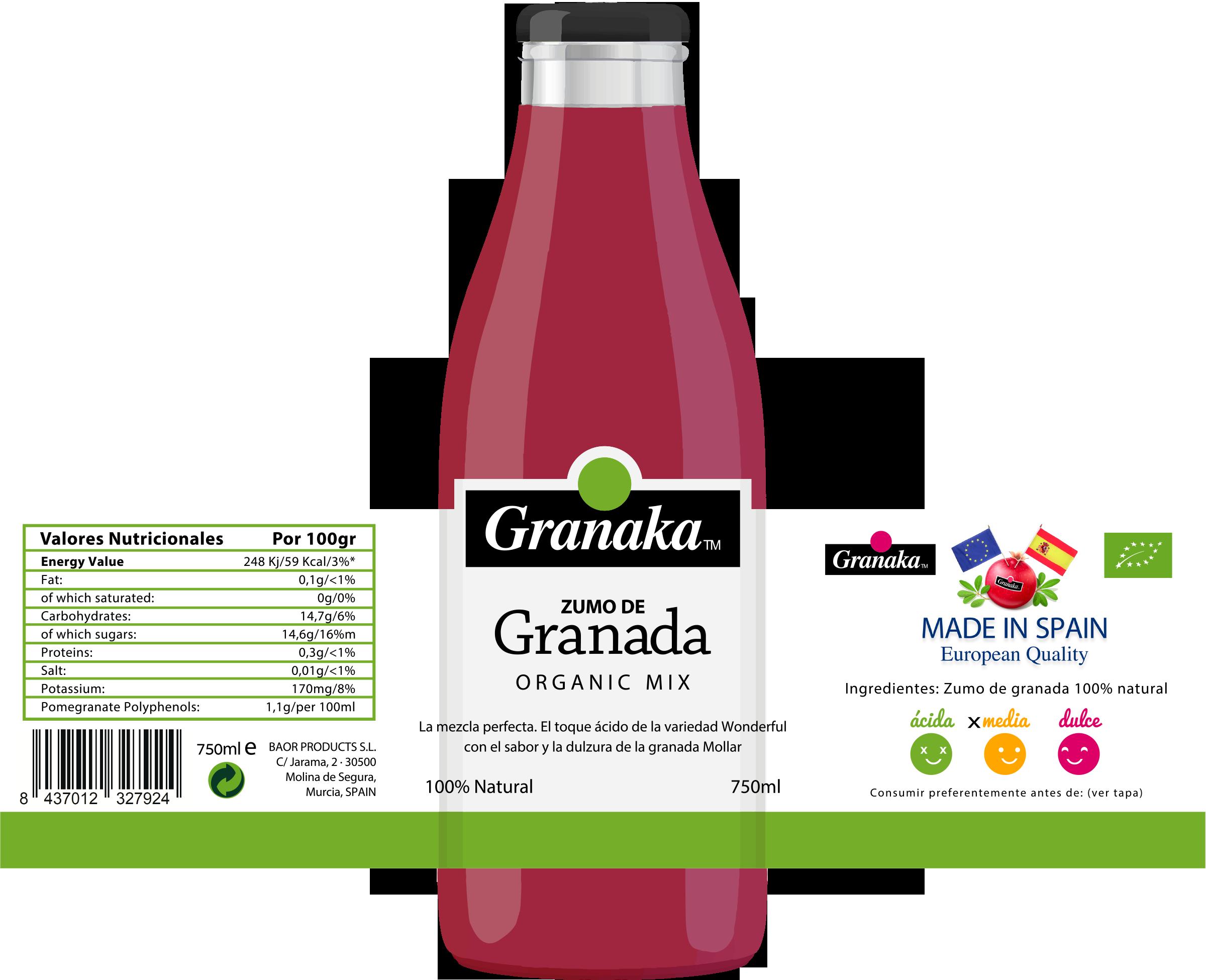 granaka verde - zumo de granada organico